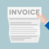 Letter Invoice. Detailed illustration of a hand holding a letter with Invoice headline Stock Photo