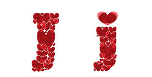 Letter J of alphabet made from hearts. Letter J, uppercase and lowercase of alphabet made from hearts Royalty Free Stock Photography