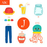 Letter J. Cartoon alphabet for children. Jellyfish, jelly, jar, Royalty Free Stock Photo