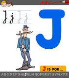 Letter j with cartoon janitor character Royalty Free Stock Photography