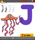 Letter j with cartoon jellyfish Stock Photography