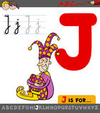 Letter j with cartoon jester character Royalty Free Stock Photography