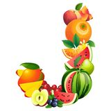 Letter J composed of different fruits with leaves Stock Images