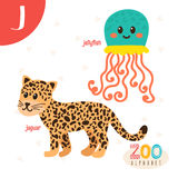 Letter J. Cute animals. Funny cartoon animals in vector.