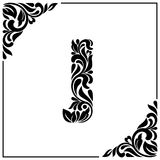 The letter J. Decorative Font with swirls and floral elements. Vintage style.  Royalty Free Stock Image