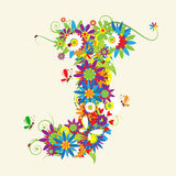Letter J, floral design Royalty Free Stock Photography