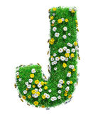 Letter J Of Green Grass And Flowers. Isolated On White Background. Font For Your Design. 3D Illustration stock illustration