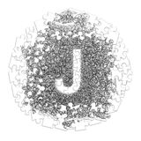 Letter J. Hand made font drawn with graphic pen on white backgro. Und in jigsaw puzzle shape Royalty Free Stock Photos