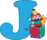 Letter J with a Jack in a Box. Sitting next to it stock illustration