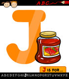 Letter j with jam cartoon illustration Stock Images