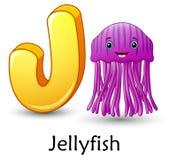 Letter J is for Jellyfish cartoon alphabet. Illustration of Letter J is for Jellyfish cartoon alphabet Vector Illustration