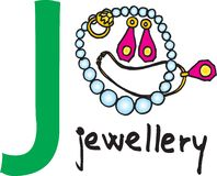 Letter J - jewellery. Vector image on white background royalty free illustration