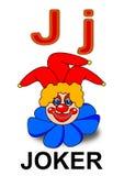 Letter J joker. Alphabet drawing for small school children J joker stock illustration