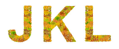 The letter J, K, and L of alphabet made of autumn leaves. Close Stock Images