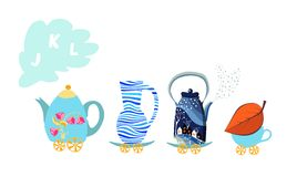 Letter J, K, L. Cute cartoon english alphabet with colorful image. Teapot and cups train. Stock Photo