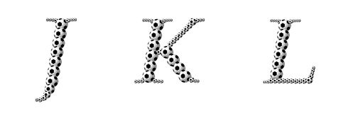 Letter J, K, L from footballs Royalty Free Stock Images