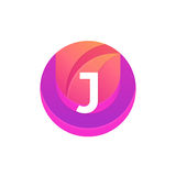Letter J logo abstract circle shape element. Vector round compan Stock Photography