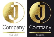 Letter J logo. Golden bright letter J logo stock illustration