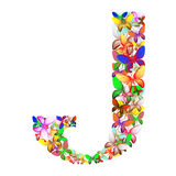The letter J made up of lots of butterflies of different colors Royalty Free Stock Photo