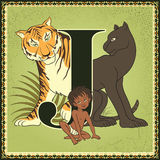 Letter J. Mowgli, Bagheera and Shere Khan Stock Photography