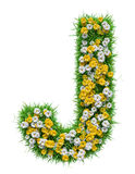 Letter J Of Green Grass And Flowers Royalty Free Stock Images