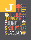 Letter J words typography illustration alphabet poster design stock illustration