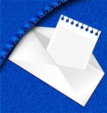 letter in a jeans pocket Royalty Free Stock Image