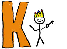 Letter K. A childlike drawing of the letter K, with a stick man as a King holding a Key Royalty Free Stock Image