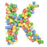 Letter K, from ABC Alphabet Wooden Blocks. 3D rendering vector illustration