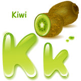 Letter K. Alphabet. English capital and uppercase letter K, stylized color of kiwi  juice. green, kiwi and slices. vector illustration Royalty Free Stock Photos