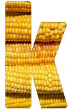 Letter k of the alphabet, with texture of corn royalty free stock photo