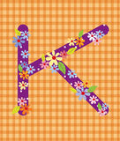 The letter K Bright floral element of colorful alphabet in  Royalty Free Stock Photos