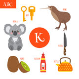 Letter K. Cartoon alphabet for children. Koala, key, kettle, ketchup, kiwi, knife royalty free illustration