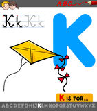 Letter k with cartoon kite toy object Royalty Free Stock Photography