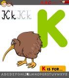 Letter k with cartoon kiwi bird Royalty Free Stock Photos