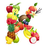 Letter K composed of different fruits with leaves Royalty Free Stock Images