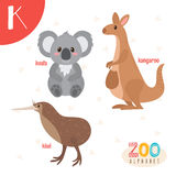 Letter K. Cute animals. Funny cartoon animals in vector.