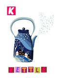 Letter K. Cute cartoon english alphabet with colorful image and word. Royalty Free Stock Photos