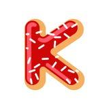 Letter K donut font. Doughnut alphabet. Sweet lettering. candy A Stock Images