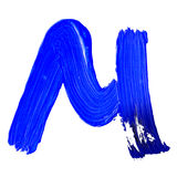 Letter M drawn with blue paints Royalty Free Stock Images