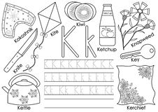 Letter K. English alphabet. Writing practice and coloring book. Education for children stock illustration