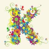 Letter K, floral design Stock Images