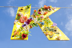 Letter K with Flowers Royalty Free Stock Images