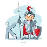 Letter K with funny Knight Stock Photo