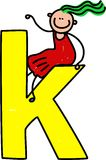 Letter K girl Stock Images