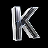 Letter K in glass 3D Royalty Free Stock Images