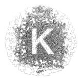 Letter K. Hand made font drawn with graphic pen on white backgro. Und in jigsaw puzzle shape Stock Photo