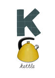 Letter K. Is for Kettle. These ABC illustrations with associated picture are perfect for postcards and interior decoration vector illustration
