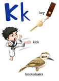 Letter K for key, kick and kookaburra Stock Photo