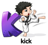 A letter K for kick. Illustration of a letter K for kick on a white background Royalty Free Stock Photos